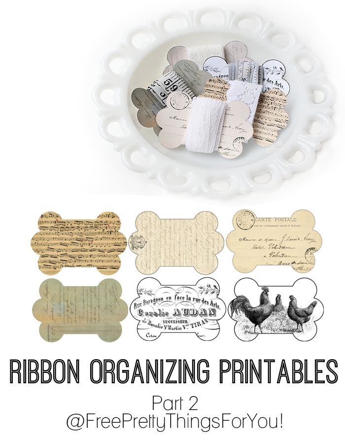 If you have ribbon you probably know how messy and tangled it can get. Download these printable ribbon wraps to organize al that lovely ribbon. Found on Free Pretty Things for You.