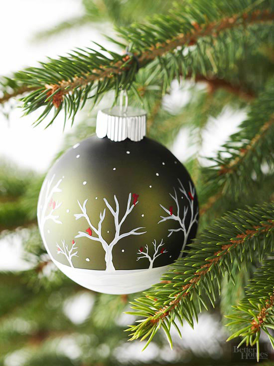 Easily paint a snowy scene on a plain glass bulb ornament with this DIY, from Better Homes and Gardens.