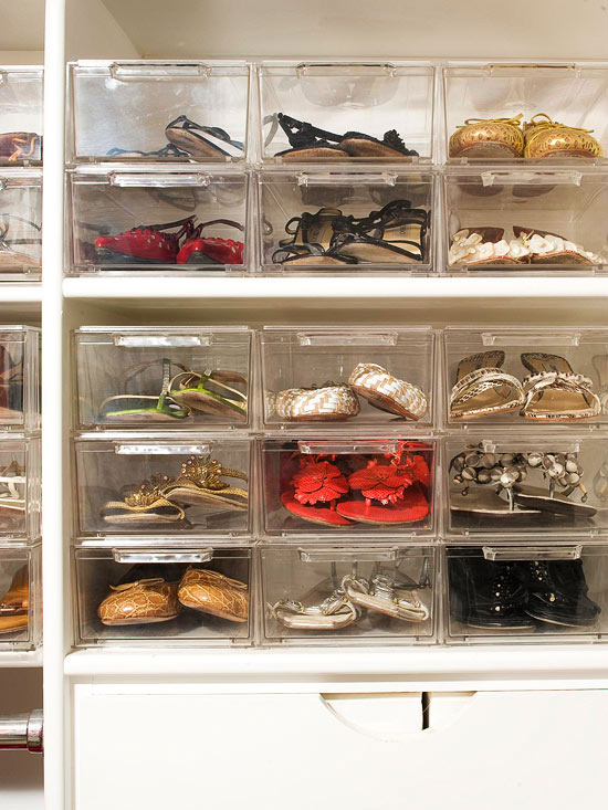 Storing shoes in clear boxes make it easier to find the perfect shoe for your night out, on Better Homes and Gardens.