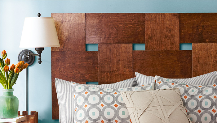 Isn't this woven wooden headboard beautiful? Find the full DIY on the Lowes blog.