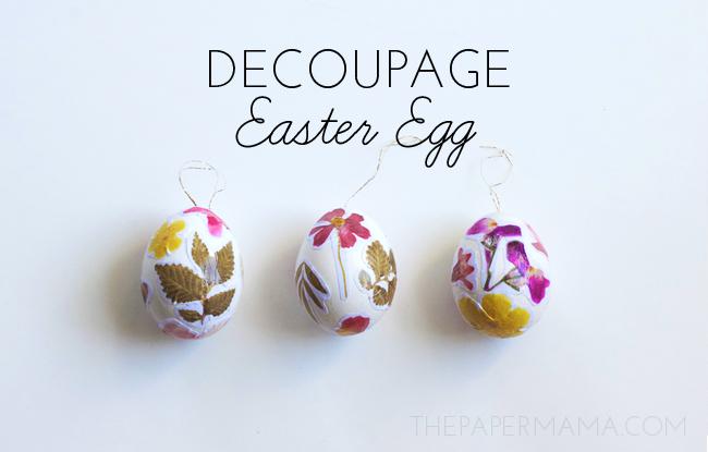 Decoupage Eggs with Free Pressed Flower Printable // thepapermama.com