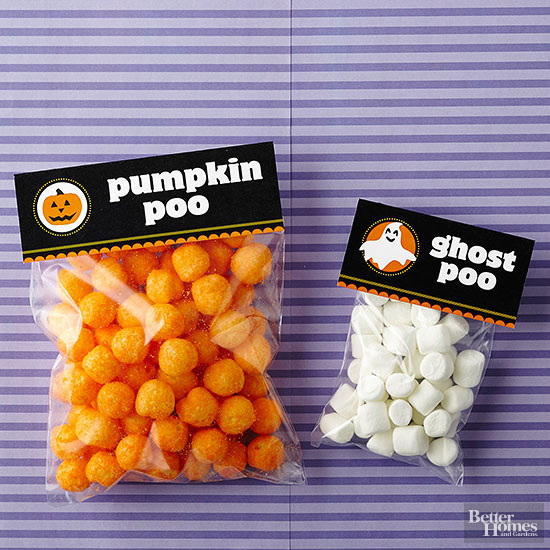 Mummy Candies can be created with some crepe paper and googly eyes, from The Paper Mama. Ha! These free printable treat bag toppers are cute and funny (poop is funny), from BHG.