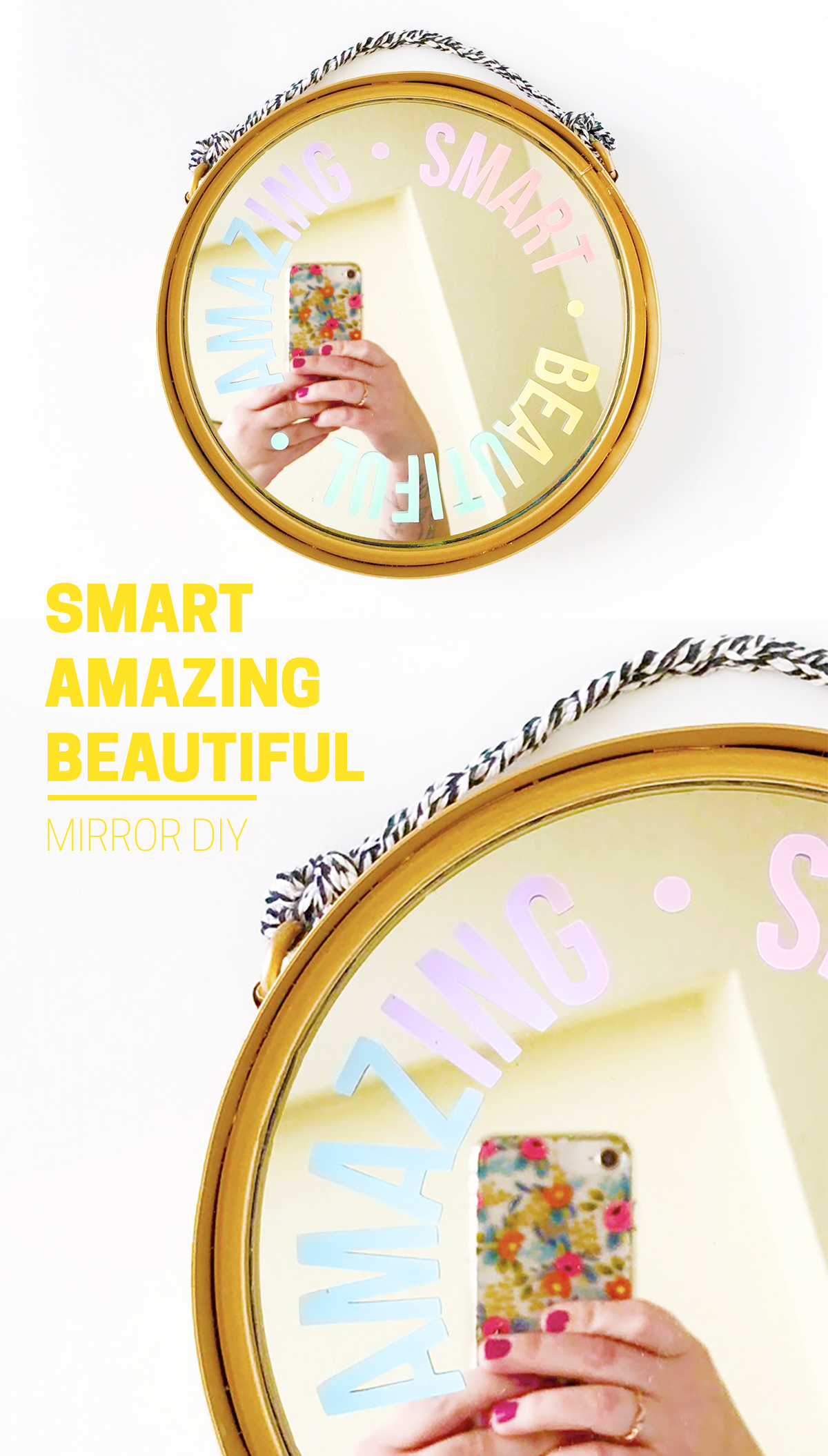 SMART BEAUTIFUL AMAZING Inspirational Mirror