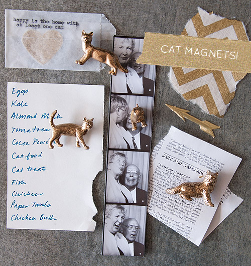 I'm totally digging these DIY Cat Magnets, from Design Sponge.