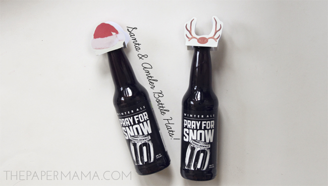 Santa and Antler Bottle Hats w/ free printables // thepapermama.com