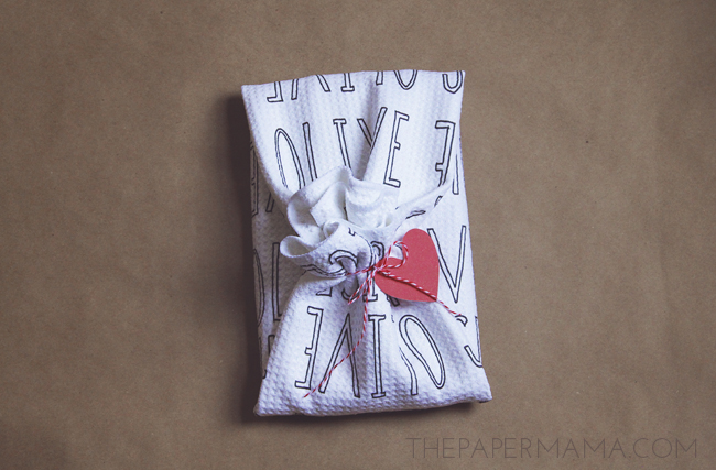"""Olive Juice"" Tea Towel Gift Wrap // thepapermama.com"