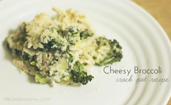 Cheesy Broccoli Crock Pot Recipe // thepapermama.com