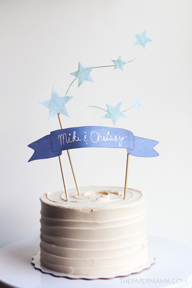 Cake Decoration Printable : Star and Banner Cake Topper (with free printables)