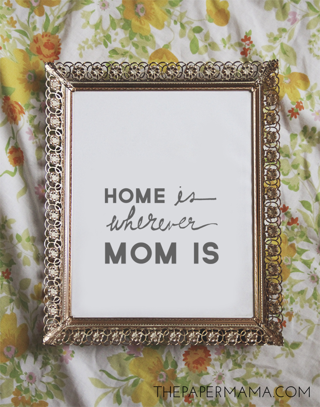 """Home Is Wherever Mom Is"" Mother's Day Printable // thepapermama.com"