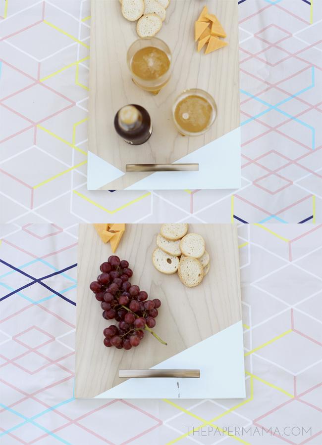 Color Block Serving Tray DIY