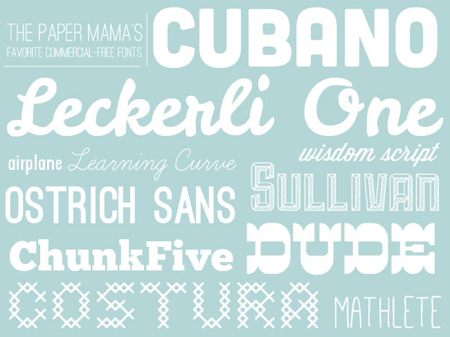 Favorite Comercial Free Fonts // thepapermama.com