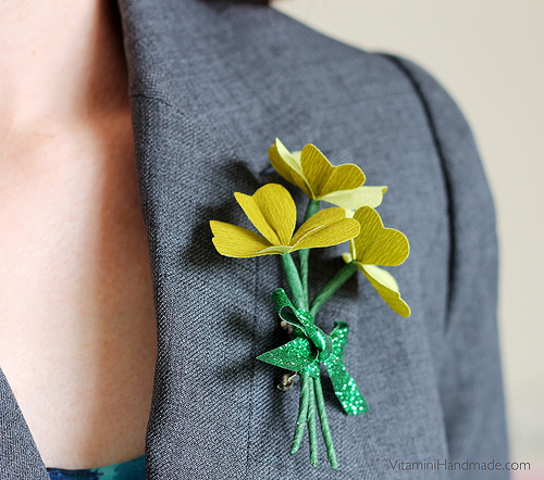 St Patricks Day Clover Corsage.
