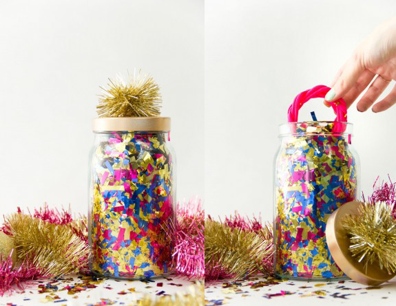 Hide your secret Santa gift in a big jar of fun confetti, from Studio DIY.