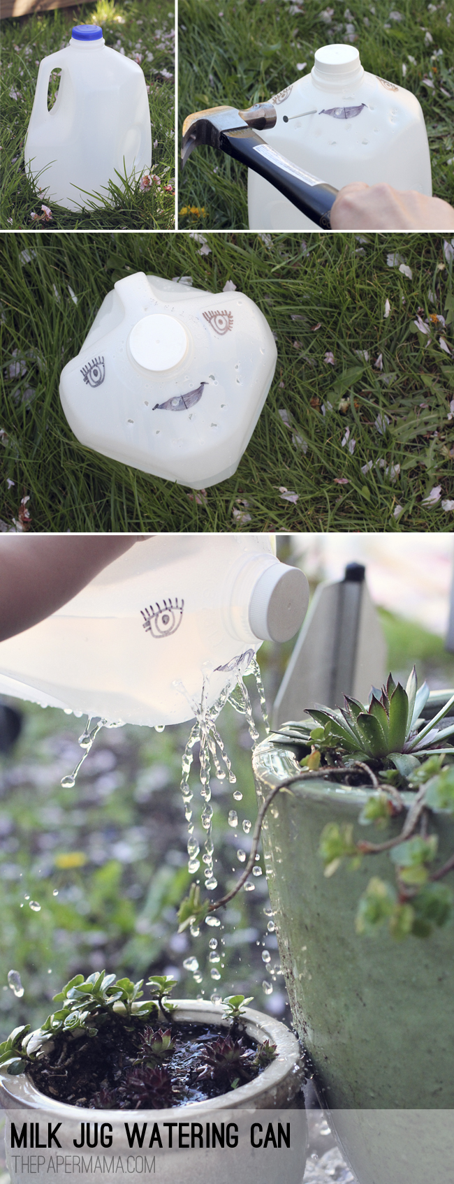 Milk Jug Watering Can // thepapermama.com