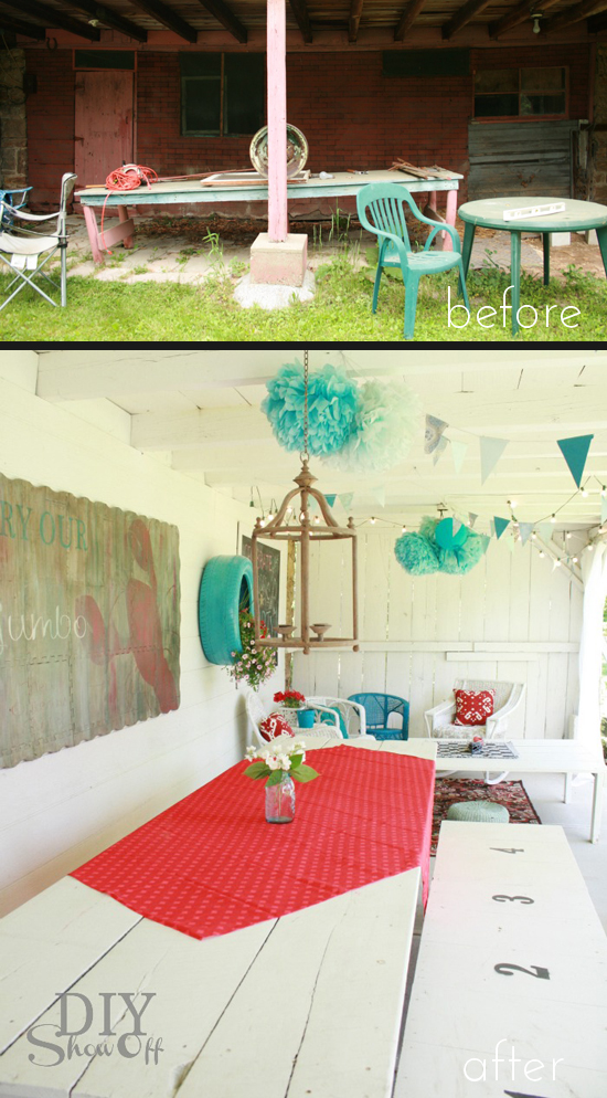 This covered patio transformation is pretty amazing, from DIY Show Off.
