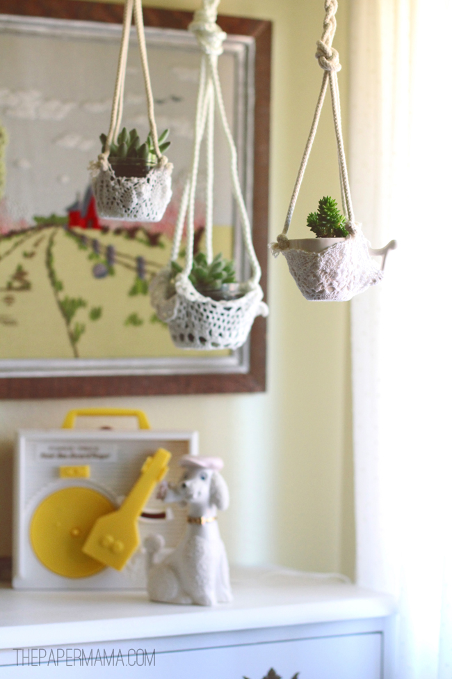 Lace Hanging Planter // thepapermama.com