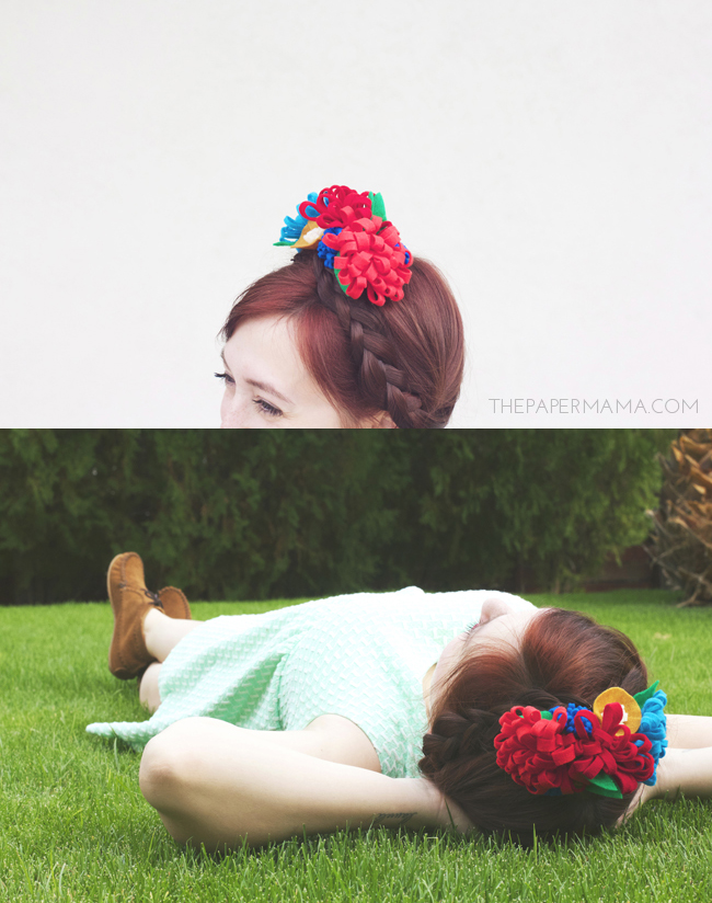 Felt Flower Hair Garland DIY // thepapermama.com