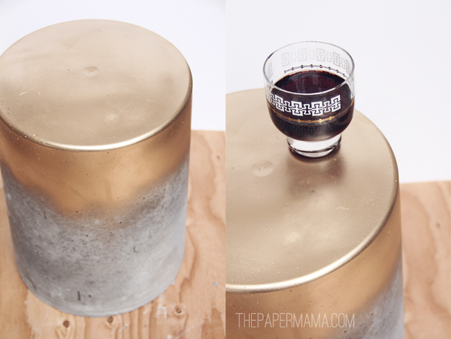 concrete stool diy tutorial gold spray paint bucket