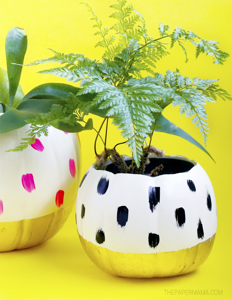 Pretty Painted Pumpkin Planters DIY
