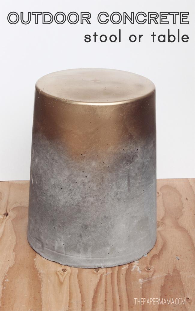 concrete stool diy tutorial gold spray paint bucket