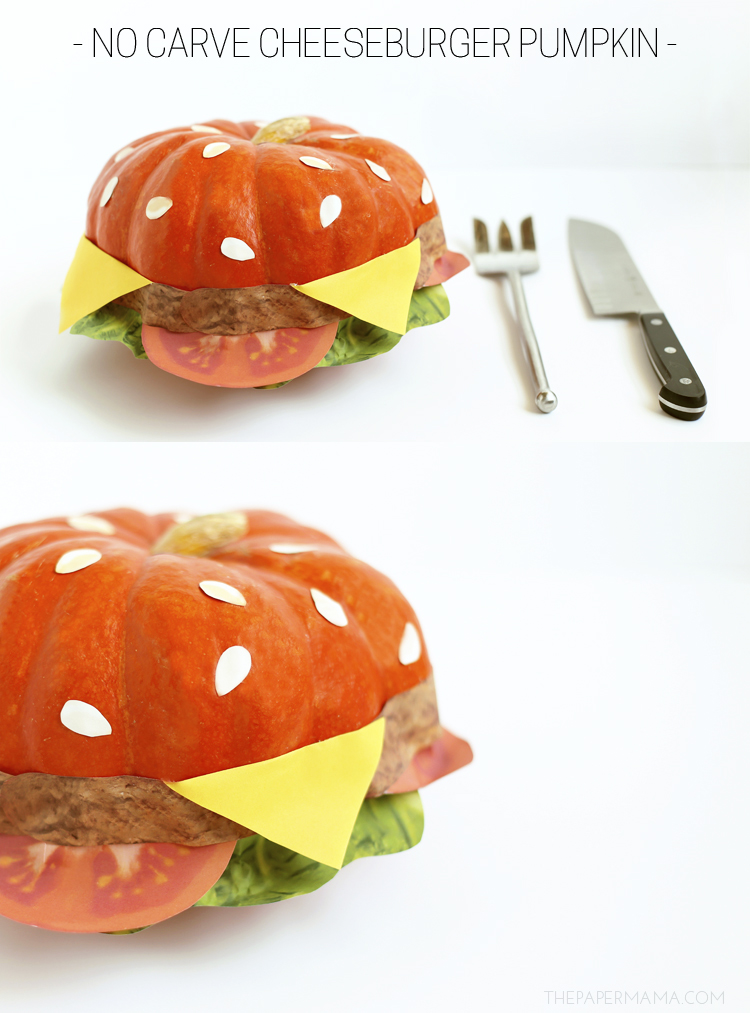 No Carve Cheeseburger Pumpkin (with free printables)