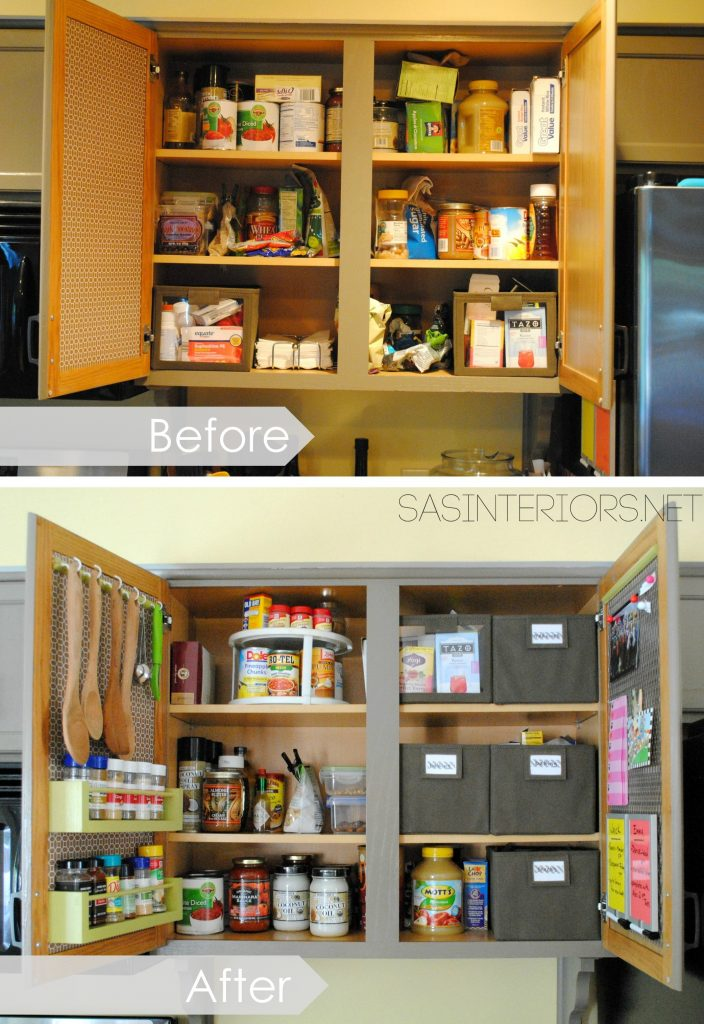 Utilize all the space in those cupboards. Installing hooks and small shelves inside your cupboard door will give you a spot for those small kitchen items. Found on Jenna Burger.