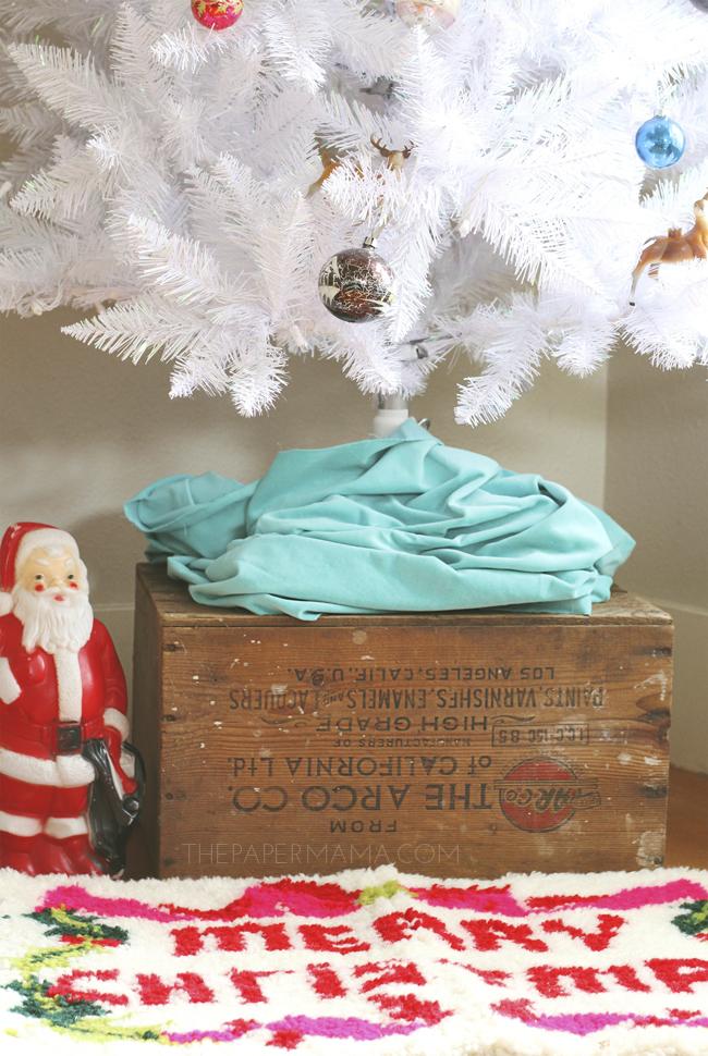 Faux Christmas Tree on Wood Box