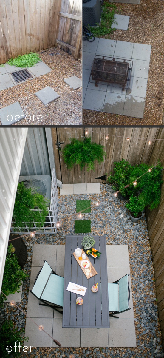 This tiny backyard makeover is perfect, from Sugar and Cloth.