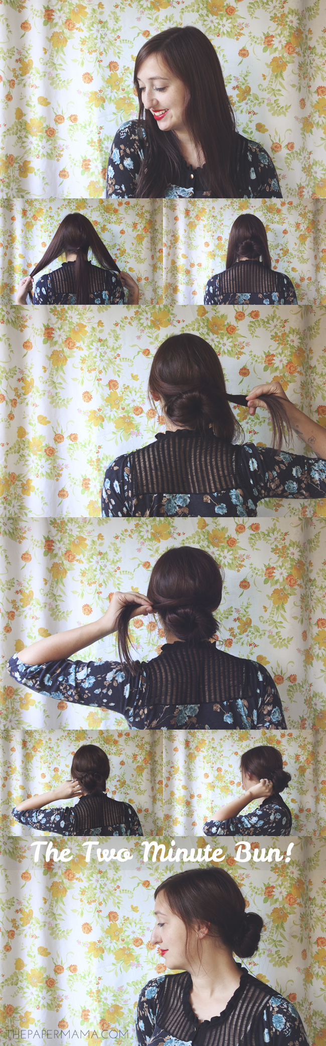 Two Minute Bun Hair Tutorial // thepapermama.com