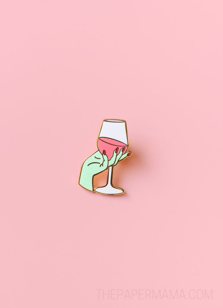 Enamel Wine Glass Pins by The Paper Mama and The Crafted Life.