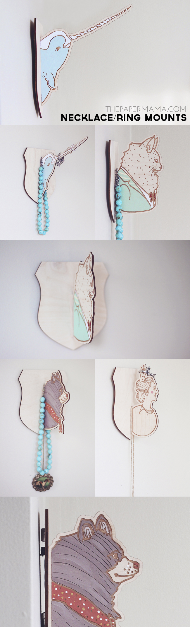 Necklace/Ring Holder Wall Mount // thepapermama.com