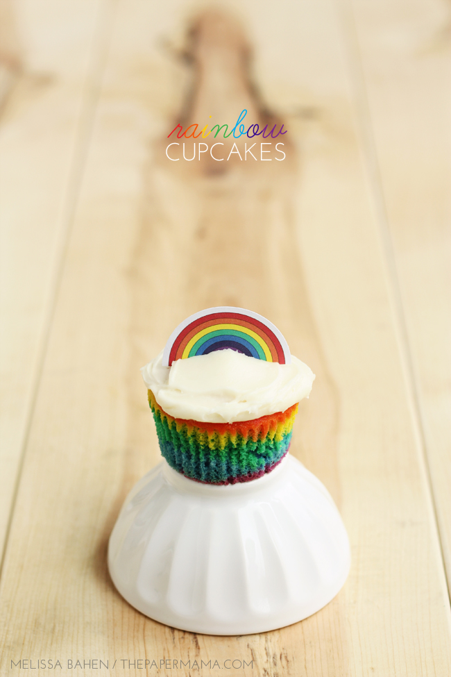 Rainbow Cupcakes and Rainbow Cupcake Toppers // thepapermama.com