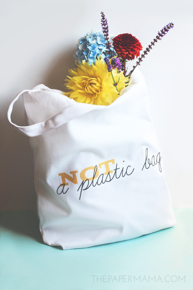 """Not A Plastic Bag"" Cloth Bag DIY and Free Printable"
