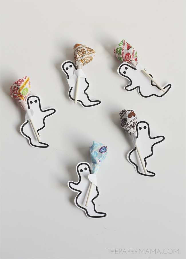 Transform those boring lollipops with my free printable ghosts, from The Paper Mama.