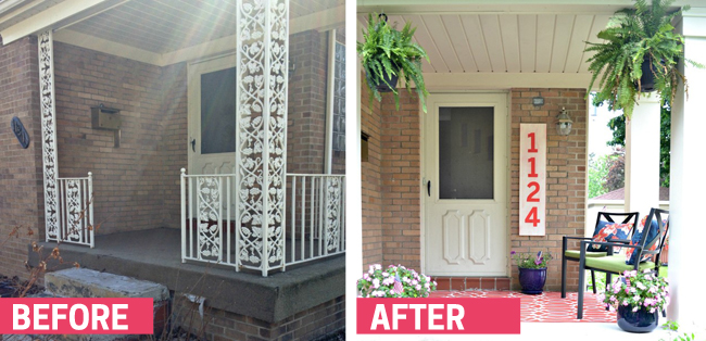 This porch REALLY changed when they removed the wrought iron and installed some lovely columns. Found on Balancing Home.
