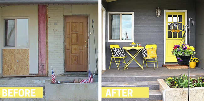 The transformation of this porch is fantastic! I love the bright colors and tile. Found on Tater Tots and Jello.
