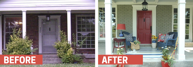 This front porch really looks like an outdoor living room. Found on The Decorologist.