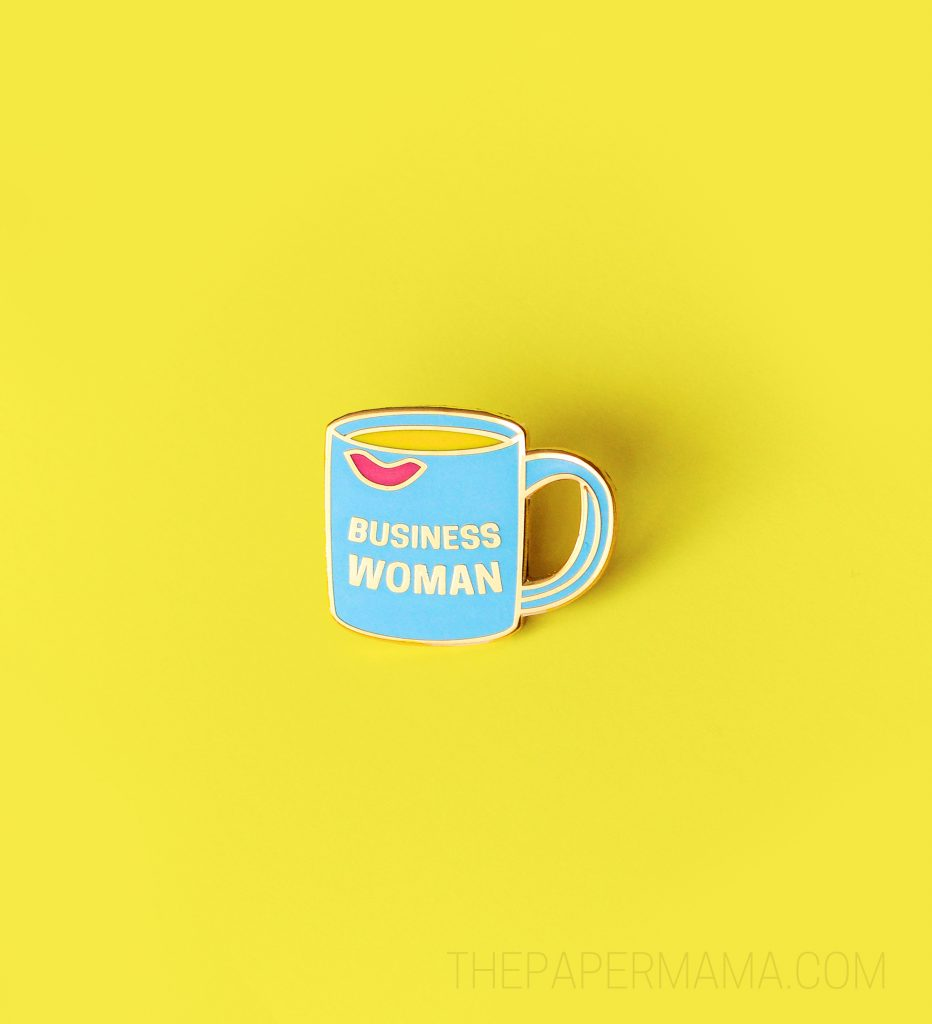 "Enamel ""Business Woman"" Coffee Mug Pins by The Paper Mama and The Crafted Life."
