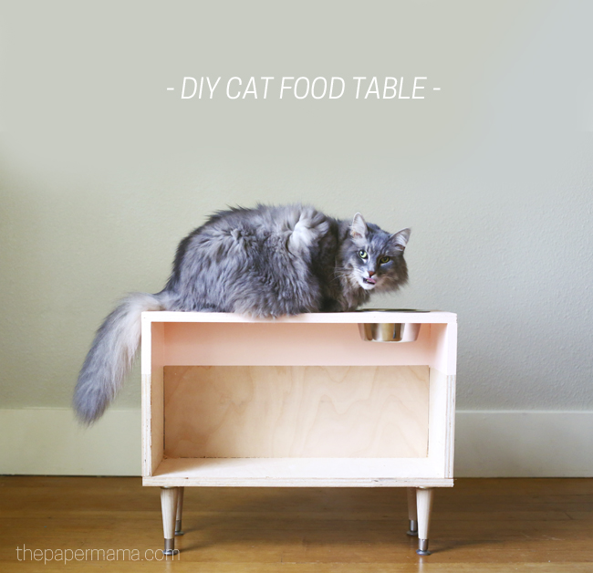 DIY Cat Food Table - The Paper Mama