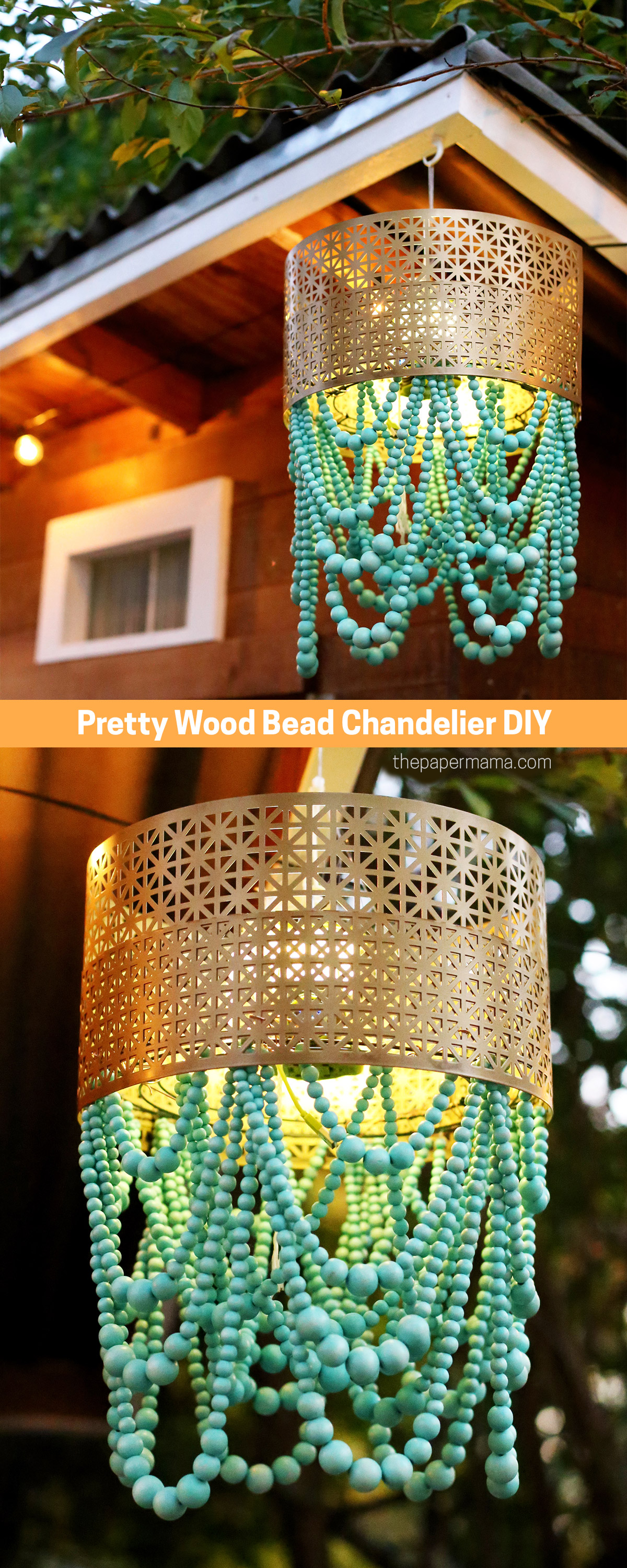 Pretty Wood Bead Chandelier DIY
