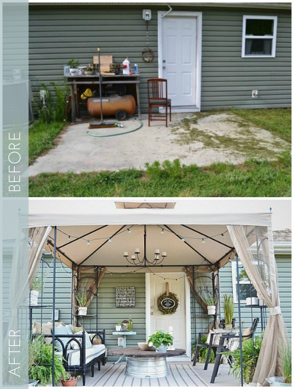 You don't need to buy all new furniture and decor to decorate your backyard, check out how this backyard was transformed with thrifter items. Found on the Liz Marie blog.