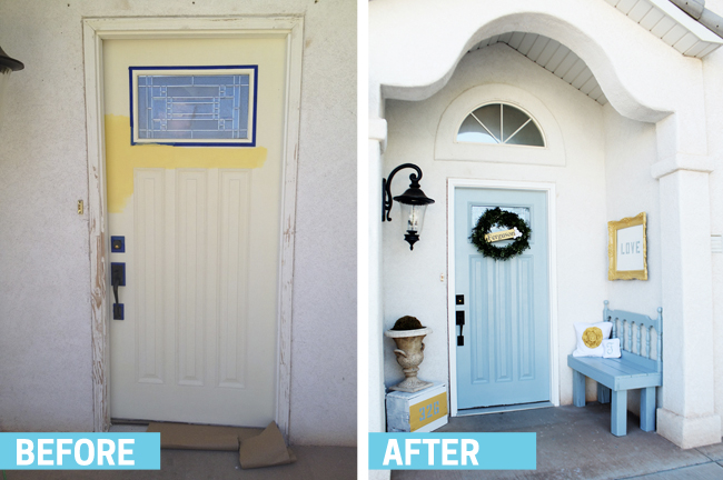 Some paint, decorations, and a cute bench really make this front porch so much more welcoming. Found on Garage Sales R Us.