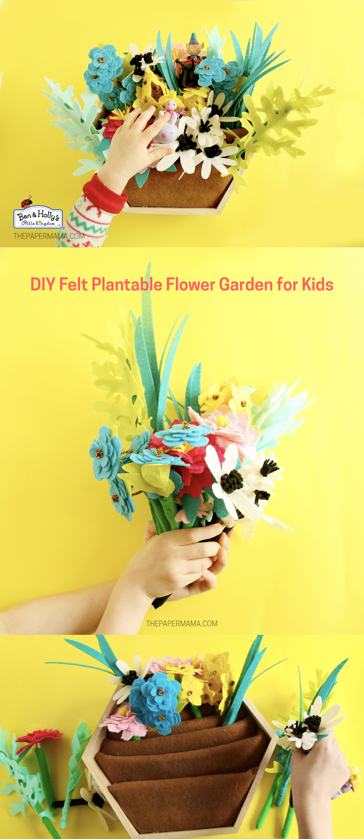 DIY Felt Plantable Flower Garden for Kids - thepapermama.com
