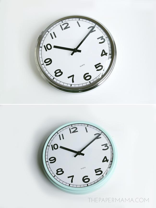 Painted Ikea Clock DIY // thepapermama.com