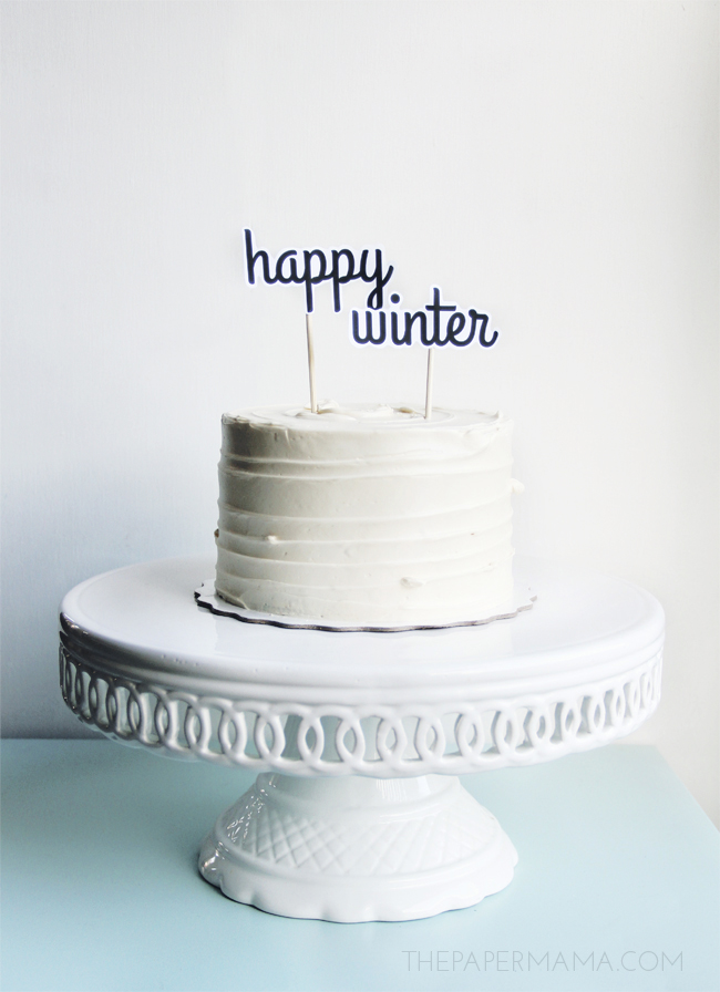 Christmas Treat: Happy Winter Cake Topper (with free printable)