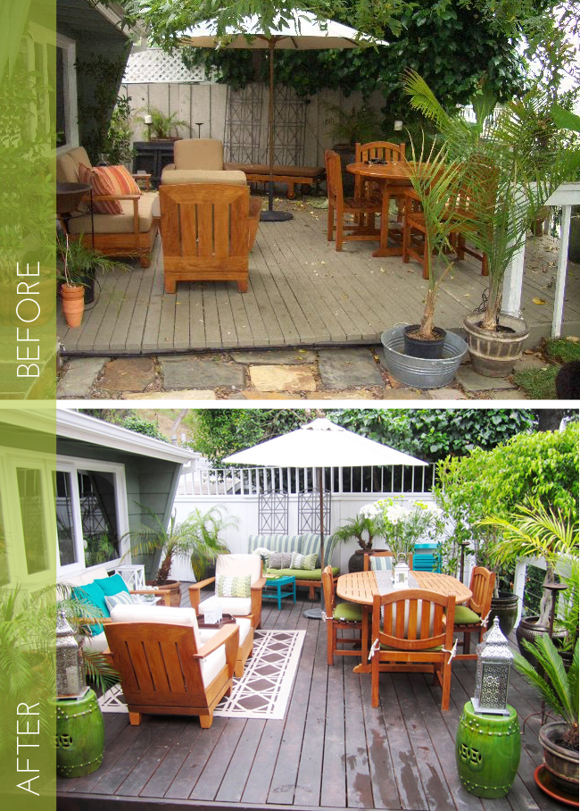 If you already have a nice patio built, just add some colorful furniture to spruce things up. Found on Remodelaholic.