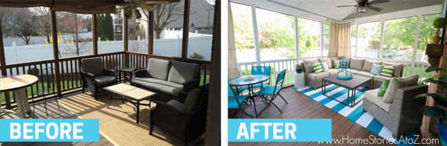 This screened porch makeover is wonderful. I want to be there right now. Found on Home Stories A to Z.