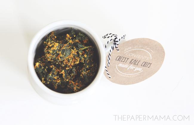 Tasty Kale Cheesy Bites chips in a coffee mug.