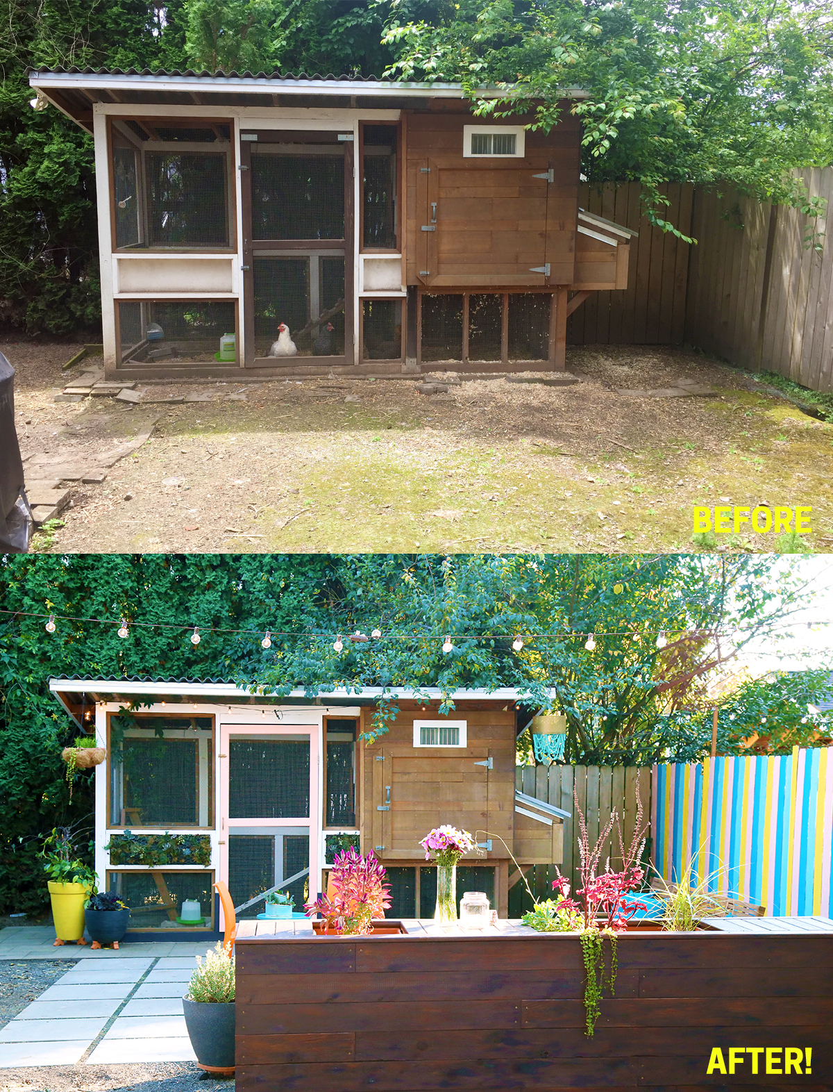 Our Colorful Small Space Patio Makeover: with Before and After photos!