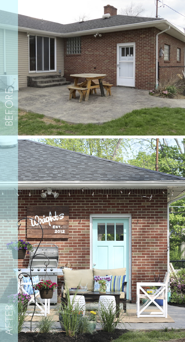 A little landscaping, some paint, furniture, and some pretty decorations came together to for this patio makeover. Found on The DIY Playbook.
